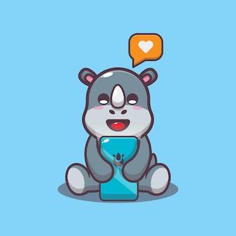Милый носорог с мобильным телефоном мультфильм векторные иллюстрации