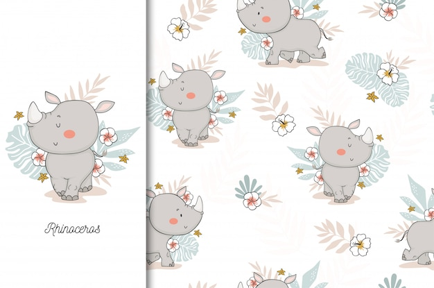 Cute rhinoceros baby. jungle animal cartoon character and seamless pattern