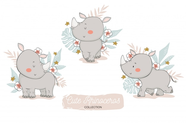 Cute rhinoceros baby. jungle animal cartoon character.