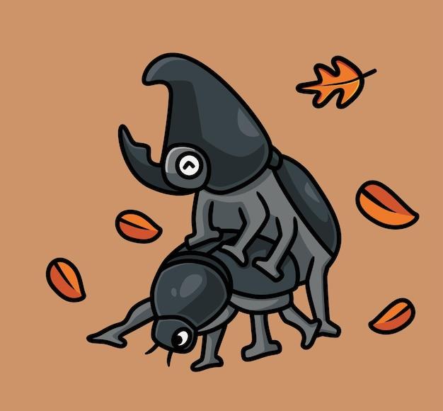 귀여운 코뿔소 딱정벌레 섹스 격리 된 만화 동물 가을 시즌 개념 그림 플랫 스타일
