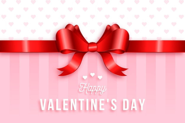 Cute ribbon and bow valentine realistic background