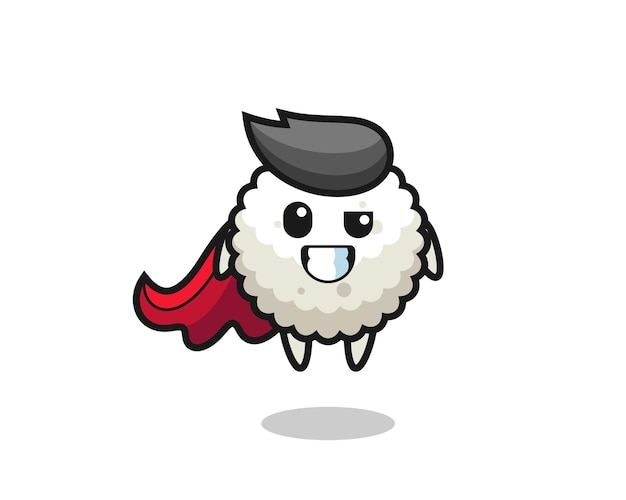 The cute rice ball character as a flying superhero , cute style design for t shirt, sticker, logo element