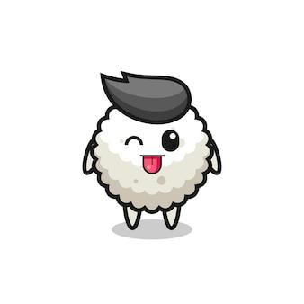 Симпатичный персонаж рисовых шариков в сладком выражении, высунув язык, милый стильный дизайн для футболки, наклейки, элемента логотипа