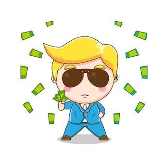 Милый богатый бизнесмен тратит деньги