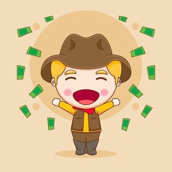 Симпатичный богатый ковбойский персонаж чиби