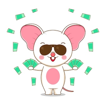 A cute rich mouse character