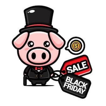 黒い金曜日の割引クーポン付きのかわいい豊かな豚