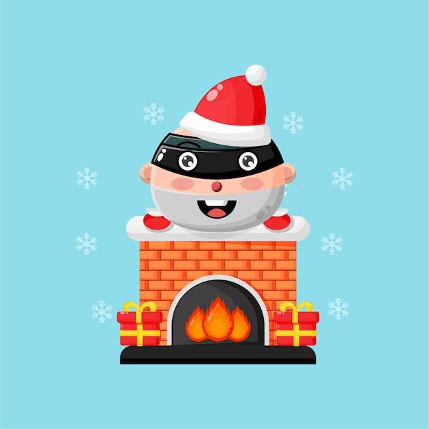 크리스마스 굴뚝 벽난로에 귀여운 강도