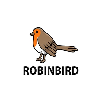 Cute robin cartoon logo  icon illustration