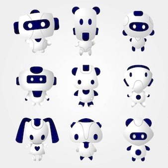 Cute robot 3d set