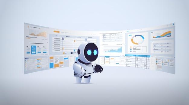 Милый робот анализирует статистику финансовые данные на виртуальных досках технология искусственного интеллекта