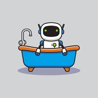 浴槽で入浴するかわいいロボット