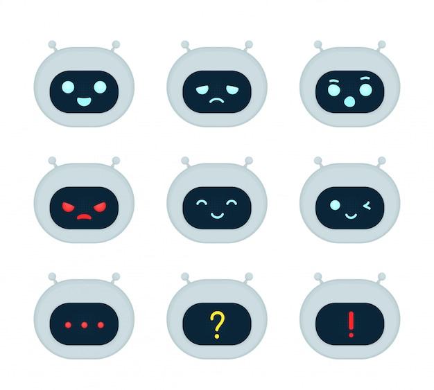 かわいいロボットボット顔感情文字セット。モダンなフラットスタイルの漫画キャライラスト。白い背景で隔離されました。ロボット、aiコンセプト
