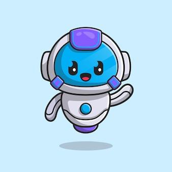 Милый робот мультфильм значок иллюстрации.