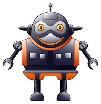 Cute robot cartoon isolated on white background