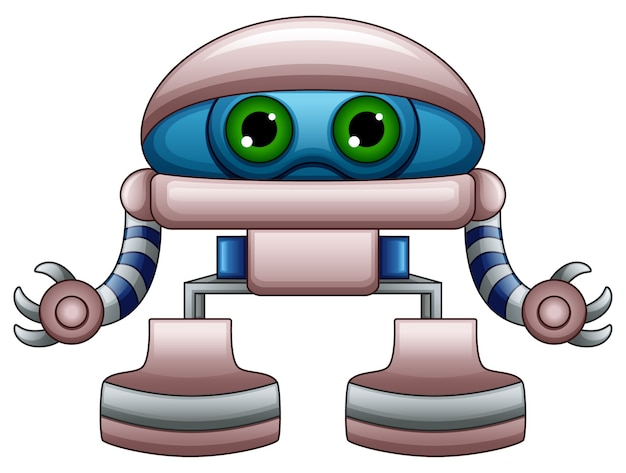Cute robot cartoon with green eyes isolated