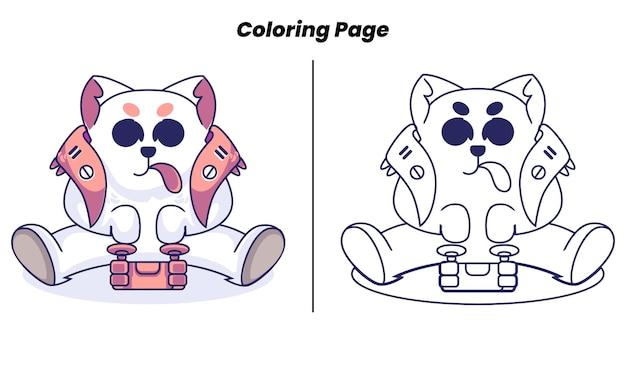 Милый кот-робот играет в игры с раскрасками