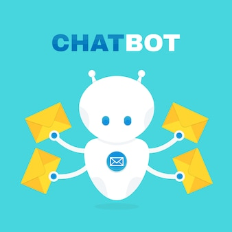 Cute robot chat bot holds envelope with a letter.