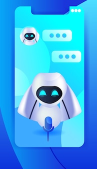 Cute robot cyborg chat bubble communication chatbot customer service artificial intelligence technology concept full length vector illustration