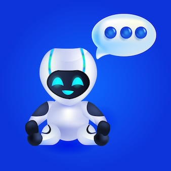Cute robot cyborg chat bubble communication chatbot customer service artificial intelligence technology concept