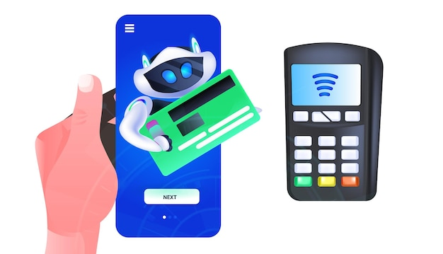 Cute robot cyborg holding credit card near payment terminal artificial intelligence technology concept horizontal vector illustration