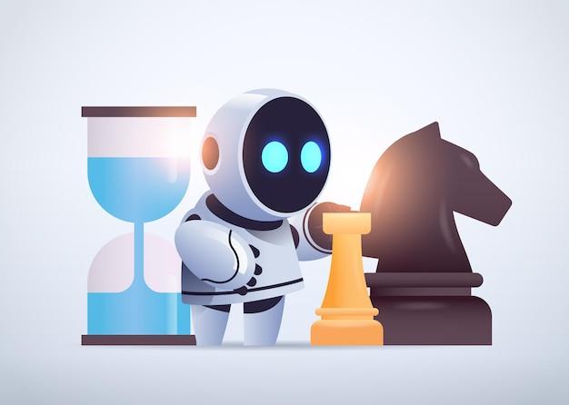 Милый робот киборг играет в шахматы стратегию технологии искусственного интеллекта
