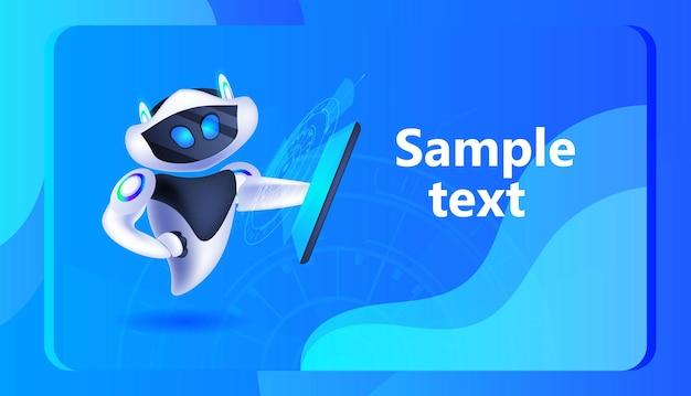タブレットpcを使用したかわいいロボットサイボーグデジタルガジェット人工知能技術を保持している現代のロボットキャラクター