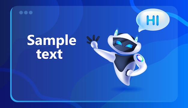 Cute robot cyborg with hi speech chat bubble communication chatbot customer service artificial intelligence technology concept full length horizontal vector illustration