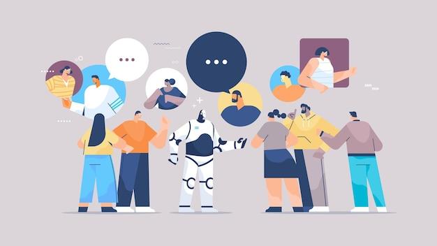 채팅 거품 통신 인공 지능 기술 개념 전체 길이 수평 벡터 일러스트 레이 션을 회의하는 동안 혼합 인종 사람들과 논의 귀여운 로봇