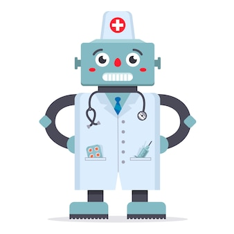 Cute robot doctor in a white coat. a game of medicine. technologies of the future. hospital treatment. character