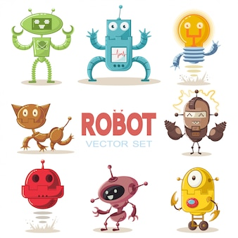 Cute robot flat cartoon character set.