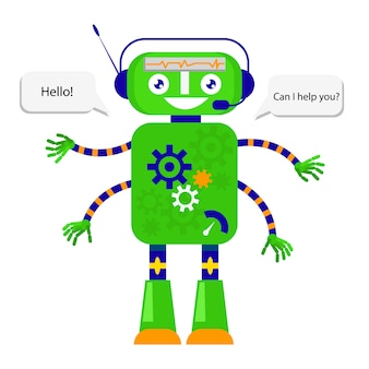 Cute robot in flat style on white background