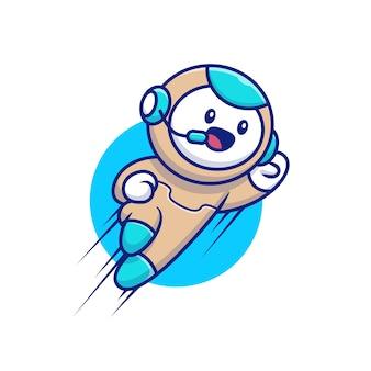 かわいいロボット飛行漫画イラスト。人の技術アイコンコンセプト
