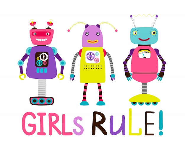 Cute robot girls t-shirt design