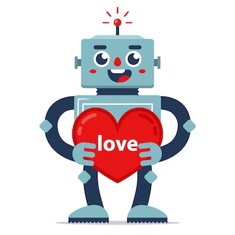 Cute robot gives valentine. declaration of love. artificial intelligence. relationship in the future.