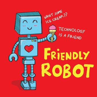 Cute robot hand drawn for t shirt