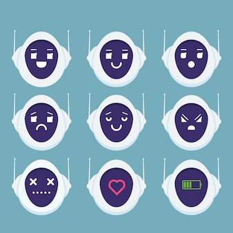 귀여운 로봇 머리 아바타 감정 이모티콘 안드로이드 개념