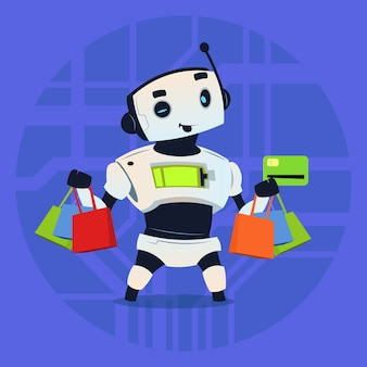 Cute robot hold credit card