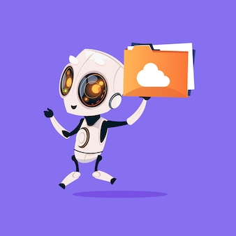 Cute robot hold folder with cloud isolated icon on blue background modern technology artificial intelligence