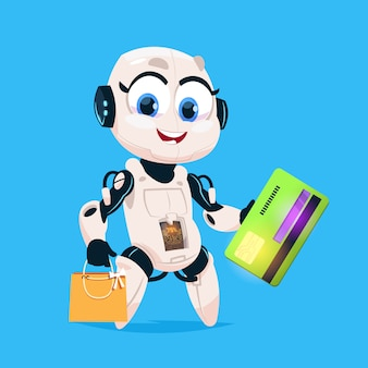 Cute robot hold greeting card and shopping bags robotic girl isolated icon