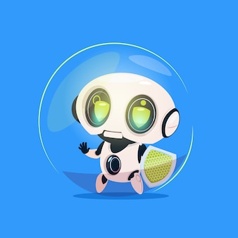 Cute robot hold shield data protection technology isolated icon on blue background modern artificial intelligence