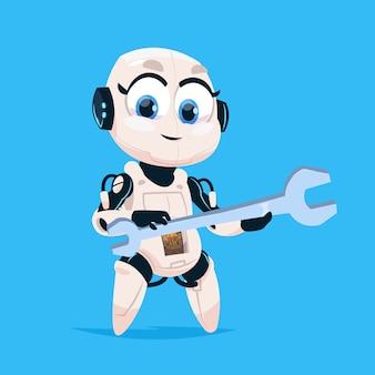Cute robot hold wrench роботизированная девушка, изолированных значок на синем фоне