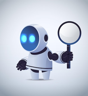 Cute robot holding magnifying glass data search artificial intelligence