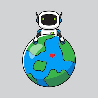 Cute robot hugging planet earth Premium Vector