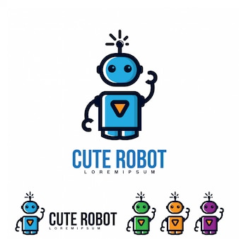 Cute robot icon vector.