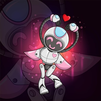 The cute robot is giving the love sign esport mascot design of illustration