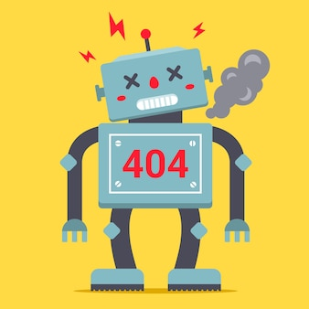 A cute robot is standing tall. it is broken and smoking. error 404 for internet site.  of a character.
