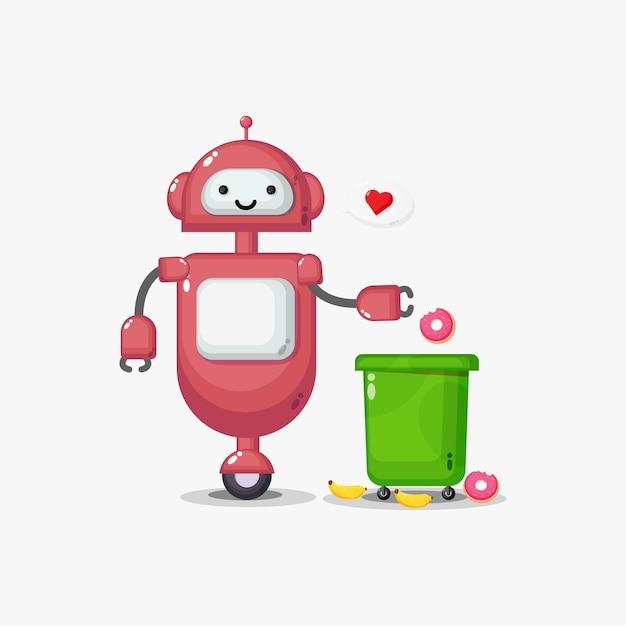 귀여운 로봇이 거품 연설에서 마음으로 쓰레기를 꺼내고 있습니다.