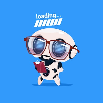 Cute robot loading wear glasses isolated icon on blue background modern technology artificial intelligence