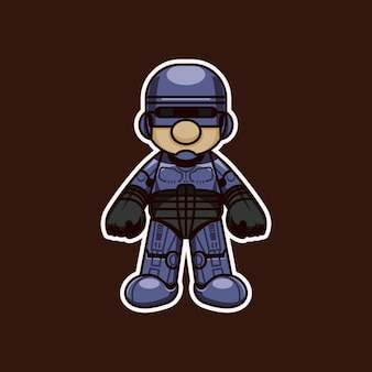 Cute robot man sticker
